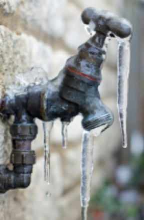 Outdoor faucet frozen over by ice   Amerestore
