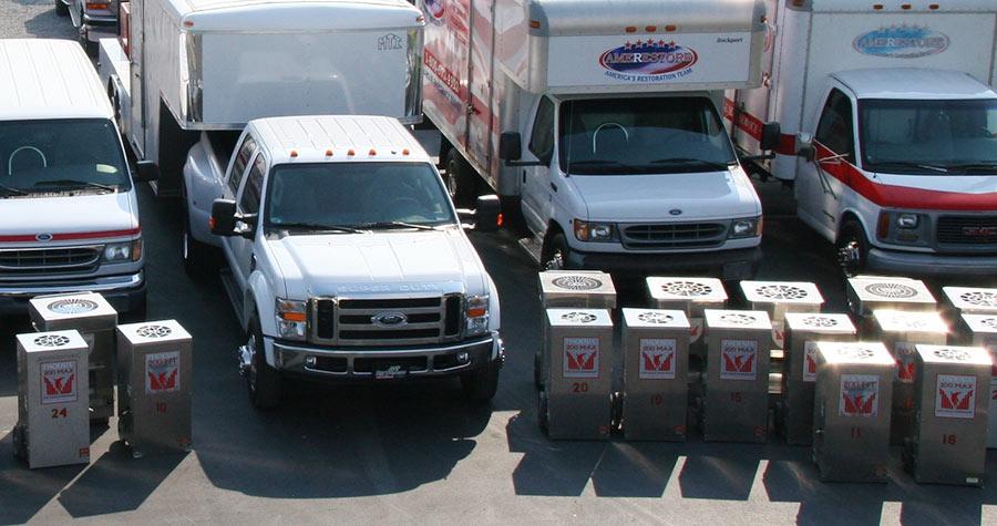 Lineup of trucks and vans   Amerestore